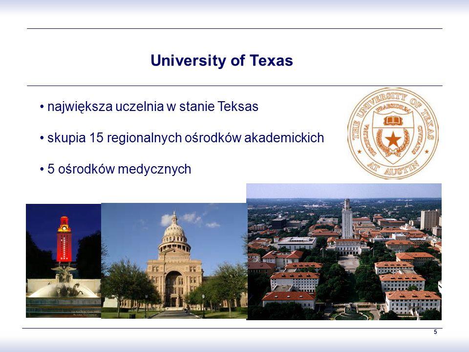 5 University of Texas największa uczelnia w stanie Teksas skupia 15 regionalnych ośrodków akademickich 5 ośrodków medycznych