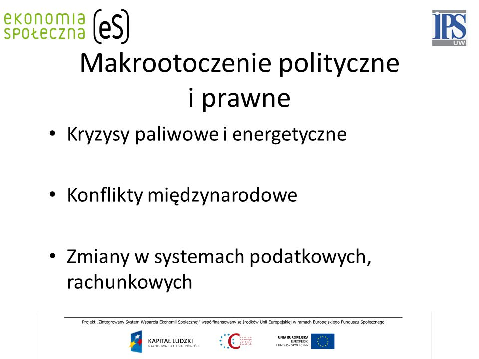 Makrootoczenie polityczne i prawne Kryzysy paliwowe i energetyczne Konflikty międzynarodowe Zmiany w systemach podatkowych, rachunkowych