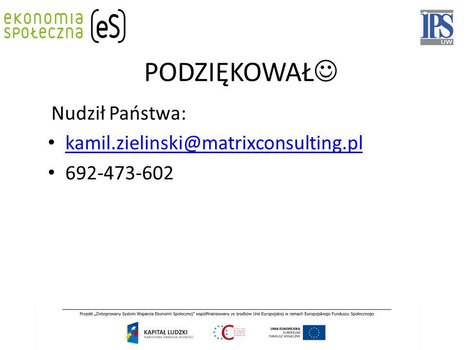 Nudził Państwa: kamil.zielinski@matrixconsulting.pl 692-473-602 PODZIĘKOWAŁ