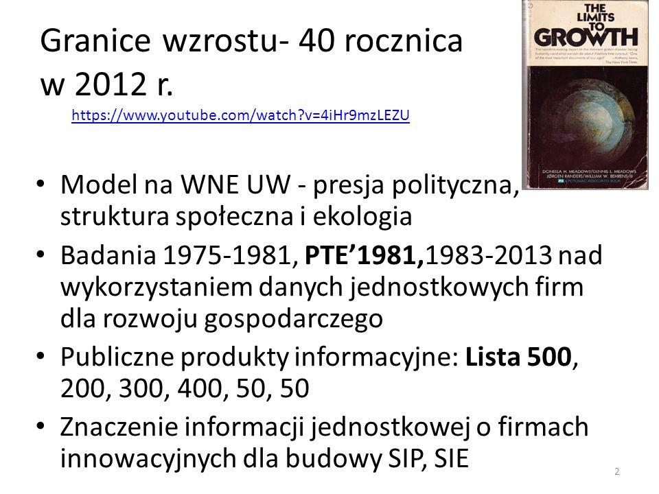 Granice wzrostu- 40 rocznica w 2012 r. Model na WNE UW - presja polityczna, struktura społeczna i ekologia Badania 1975-1981, PTE'1981,1983-2013 nad w