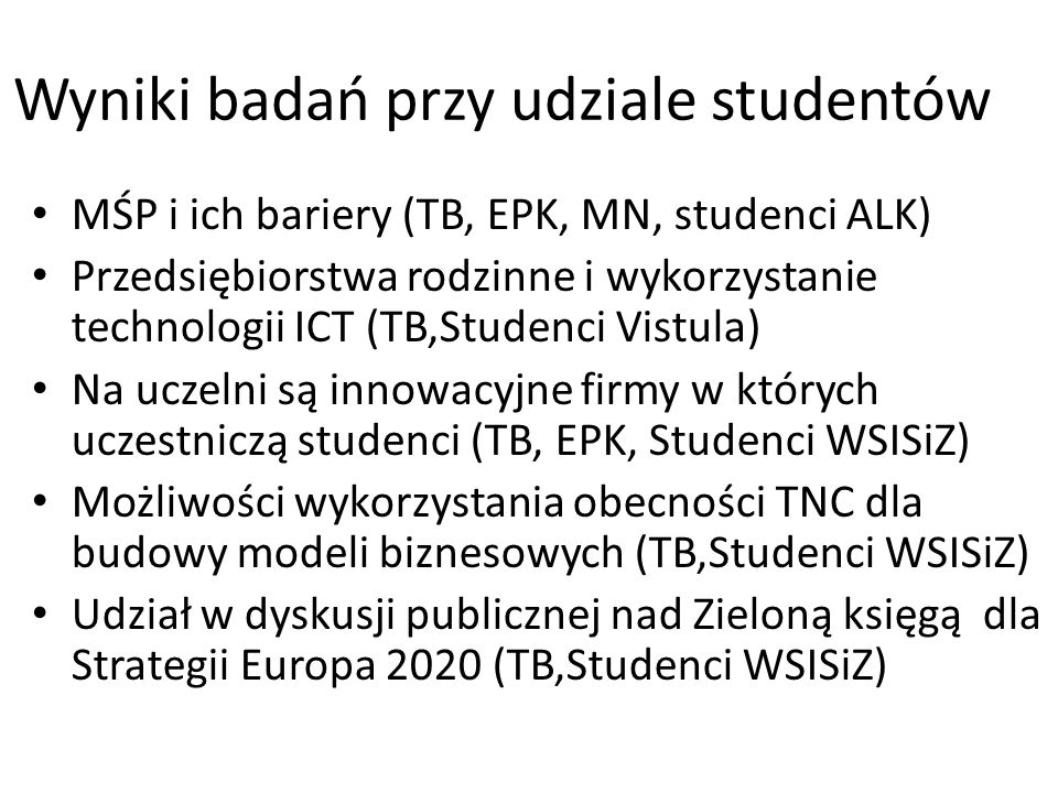 Wyniki badań przy udziale studentów MŚP i ich bariery (TB, EPK, MN, studenci ALK) Przedsiębiorstwa rodzinne i wykorzystanie technologii ICT (TB,Studenci Vistula) Na uczelni są innowacyjne firmy w których uczestniczą studenci (TB, EPK, Studenci WSISiZ) Możliwości wykorzystania obecności TNC dla budowy modeli biznesowych (TB,Studenci WSISiZ) Udział w dyskusji publicznej nad Zieloną księgą dla Strategii Europa 2020 (TB,Studenci WSISiZ)