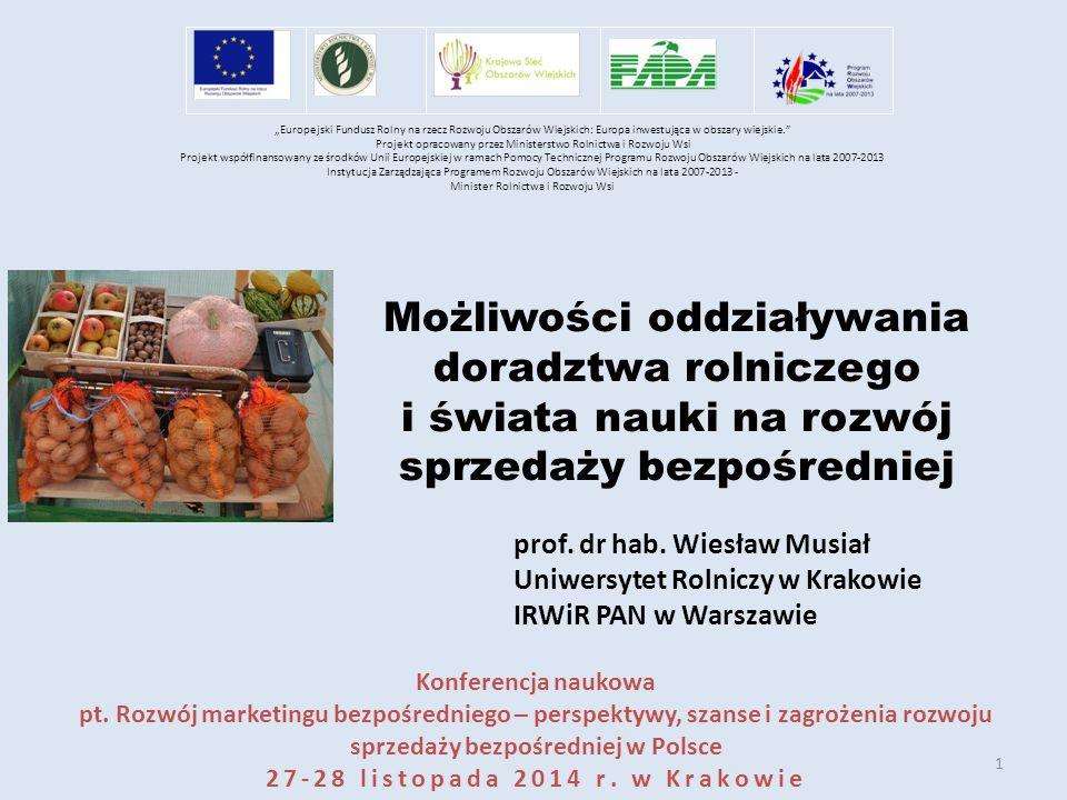 1 Możliwości oddziaływania doradztwa rolniczego i świata nauki na rozwój sprzedaży bezpośredniej prof.