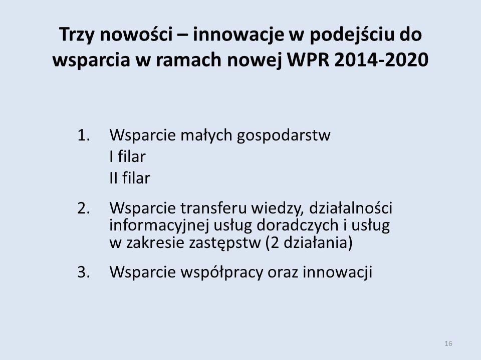 Trzy nowości – innowacje w podejściu do wsparcia w ramach nowej WPR 2014-2020 1.Wsparcie małych gospodarstw I filar II filar 2.Wsparcie transferu wiedzy, działalności informacyjnej usług doradczych i usług w zakresie zastępstw (2 działania) 3.Wsparcie współpracy oraz innowacji 16