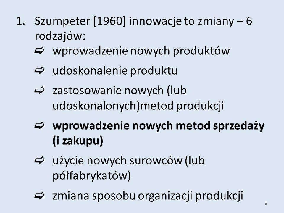 8 1.Szumpeter [1960] innowacje to zmiany – 6 rodzajów:  wprowadzenie nowych produktów  udoskonalenie produktu  zastosowanie nowych (lub udoskonalonych)metod produkcji  wprowadzenie nowych metod sprzedaży (i zakupu)  użycie nowych surowców (lub półfabrykatów)  zmiana sposobu organizacji produkcji