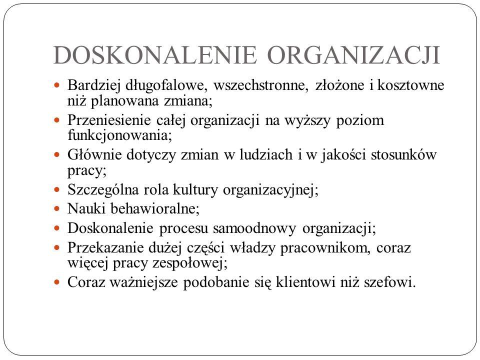 DOSKONALENIE ORGANIZACJI Bardziej długofalowe, wszechstronne, złożone i kosztowne niż planowana zmiana; Przeniesienie całej organizacji na wyższy pozi