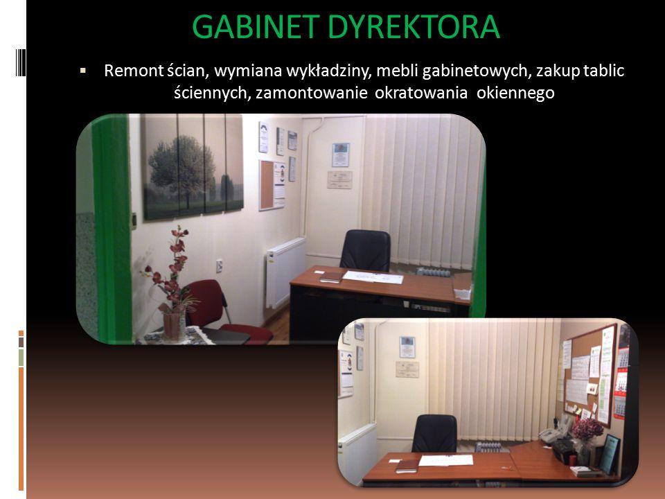GABINET DYREKTORA  Remont ścian, wymiana wykładziny, mebli gabinetowych, zakup tablic ściennych, zamontowanie okratowania okiennego