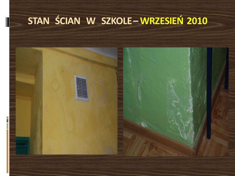 STAN ŚCIAN W SZKOLE – WRZESIEŃ 2010
