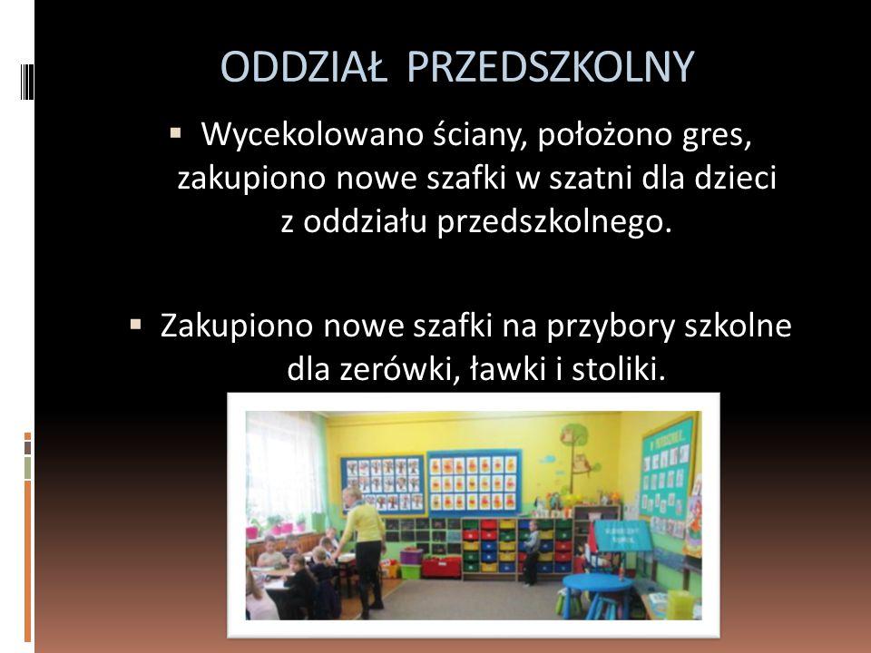 ODDZIAŁ PRZEDSZKOLNY  Wycekolowano ściany, położono gres, zakupiono nowe szafki w szatni dla dzieci z oddziału przedszkolnego.