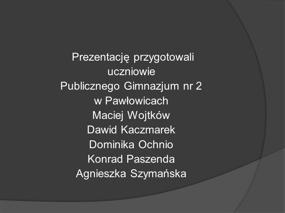 Prezentację przygotowali uczniowie Publicznego Gimnazjum nr 2 w Pawłowicach Maciej Wojtków Dawid Kaczmarek Dominika Ochnio Konrad Paszenda Agnieszka Szymańska