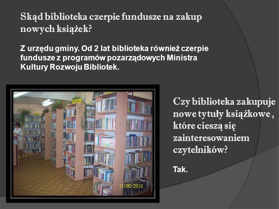 Czy biblioteka zakupuje nowe tytu ł y ksi ąż kowe, które ciesz ą si ę zainteresowaniem czytelników.
