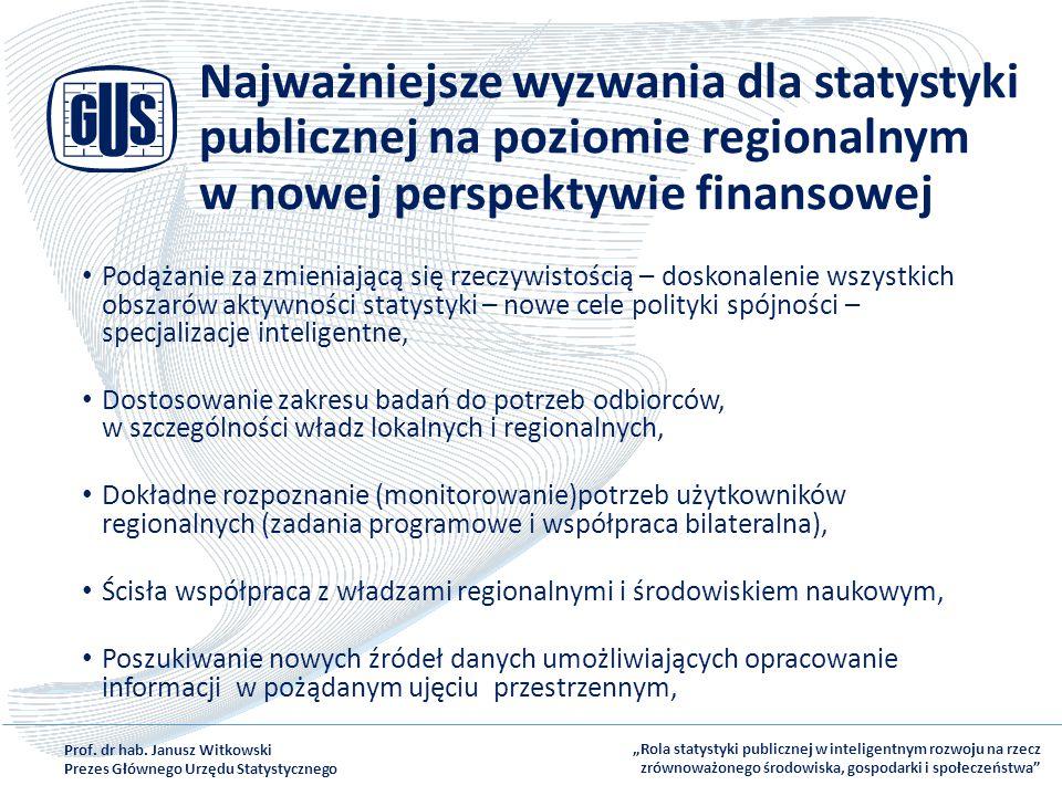 Najważniejsze wyzwania dla statystyki publicznej na poziomie regionalnym w nowej perspektywie finansowej Podążanie za zmieniającą się rzeczywistością