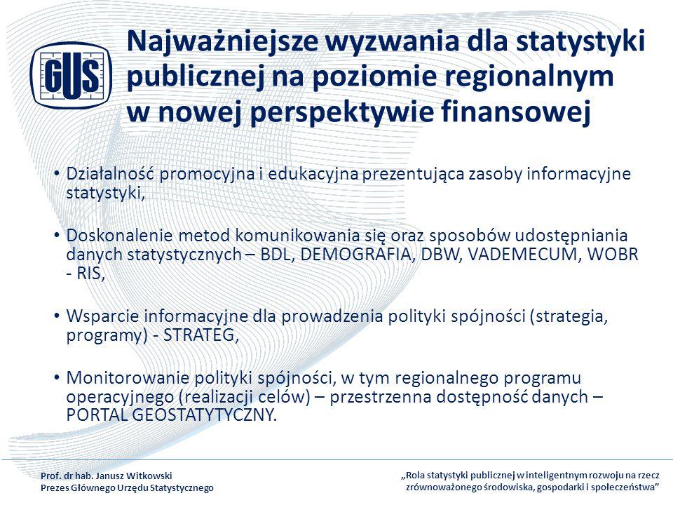 Najważniejsze wyzwania dla statystyki publicznej na poziomie regionalnym w nowej perspektywie finansowej Działalność promocyjna i edukacyjna prezentuj