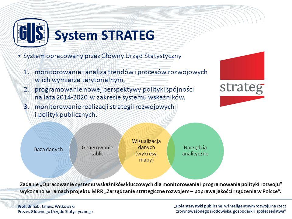 System STRATEG System opracowany przez Główny Urząd Statystyczny 1.monitorowanie i analiza trendów i procesów rozwojowych w ich wymiarze terytorialnym