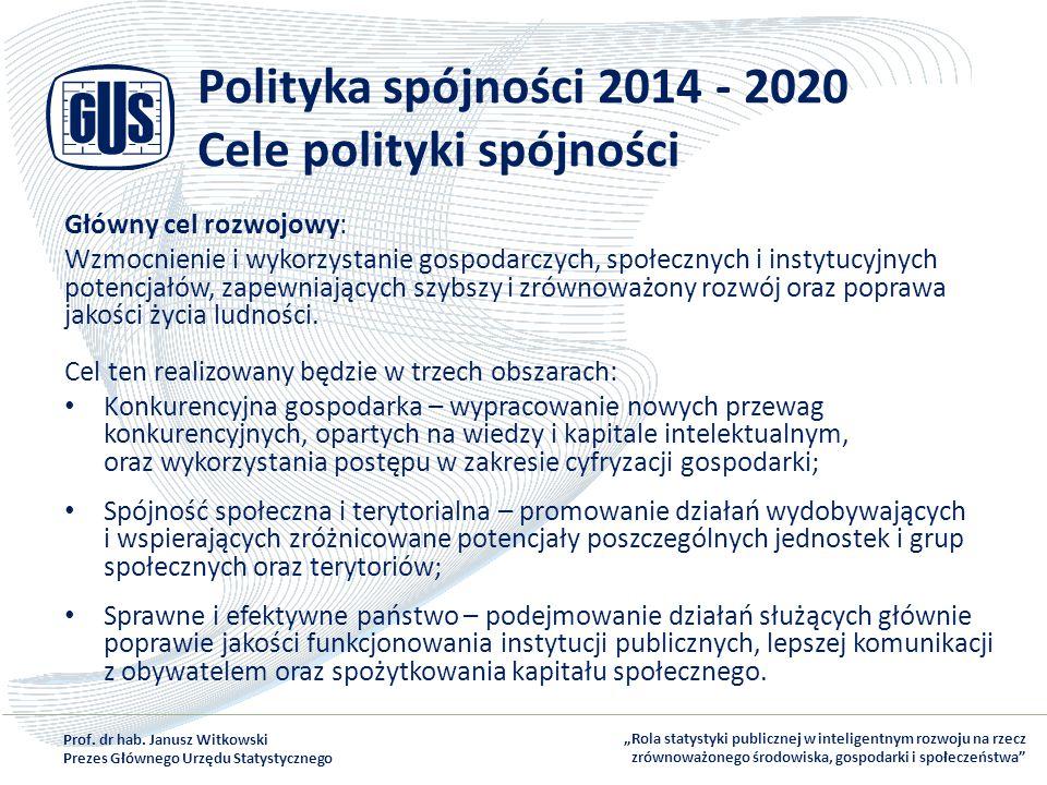 Polityka spójności 2014 - 2020 Cele polityki spójności Główny cel rozwojowy: Wzmocnienie i wykorzystanie gospodarczych, społecznych i instytucyjnych p