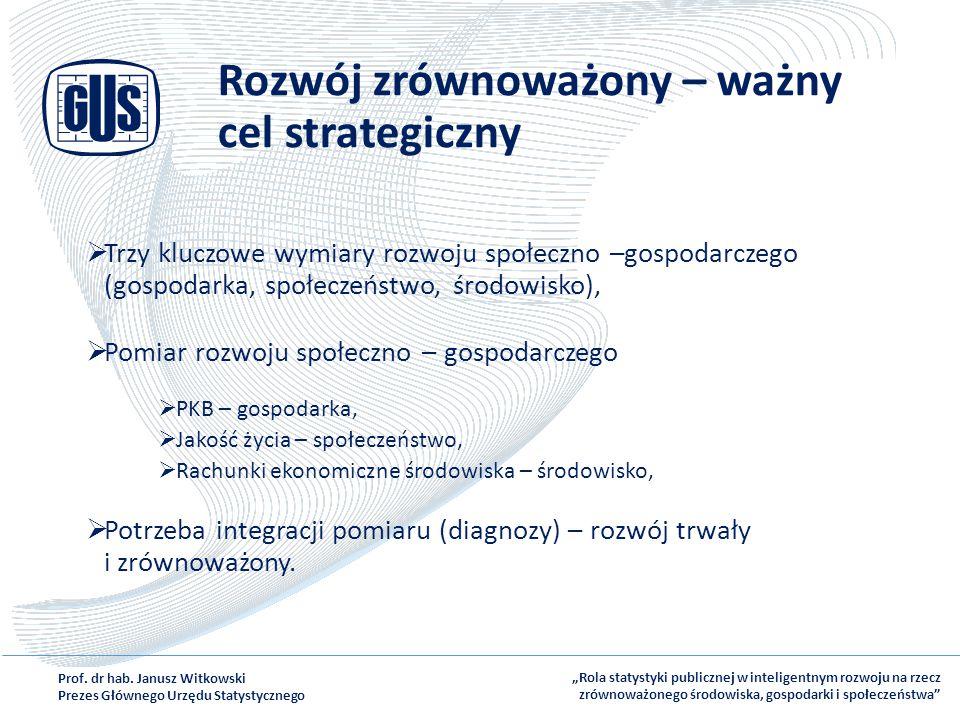 Rozwój zrównoważony – ważny cel strategiczny  Trzy kluczowe wymiary rozwoju społeczno –gospodarczego (gospodarka, społeczeństwo, środowisko),  Pomia