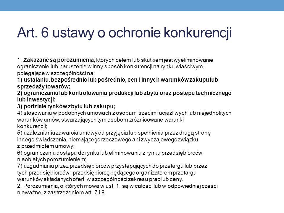 Art.6 ustawy o ochronie konkurencji 1.