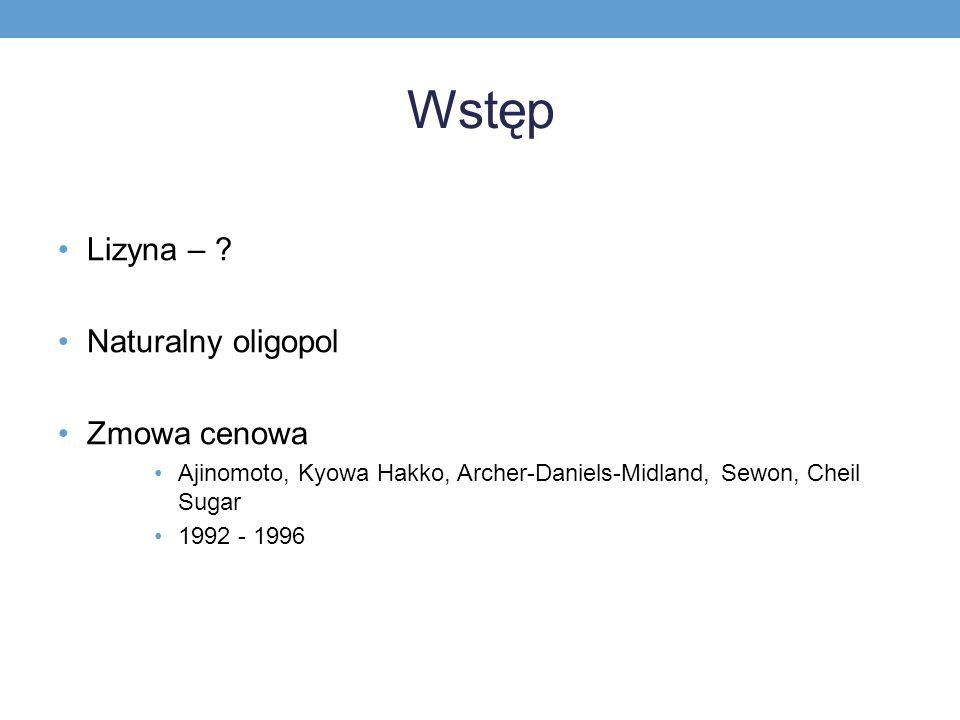 Wstęp Lizyna – ? Naturalny oligopol Zmowa cenowa Ajinomoto, Kyowa Hakko, Archer-Daniels-Midland, Sewon, Cheil Sugar 1992 - 1996