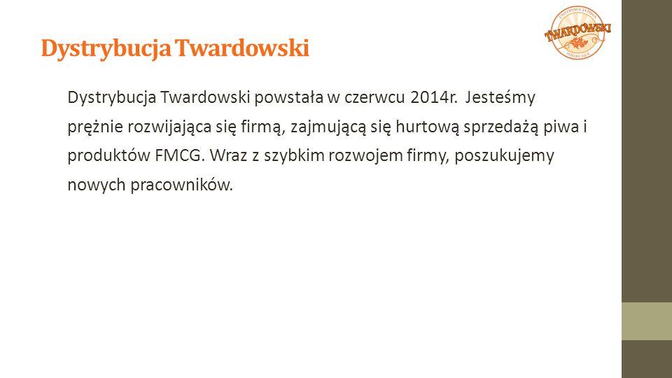 Dystrybucja Twardowski Dystrybucja Twardowski powstała w czerwcu 2014r. Jesteśmy prężnie rozwijająca się firmą, zajmującą się hurtową sprzedażą piwa i
