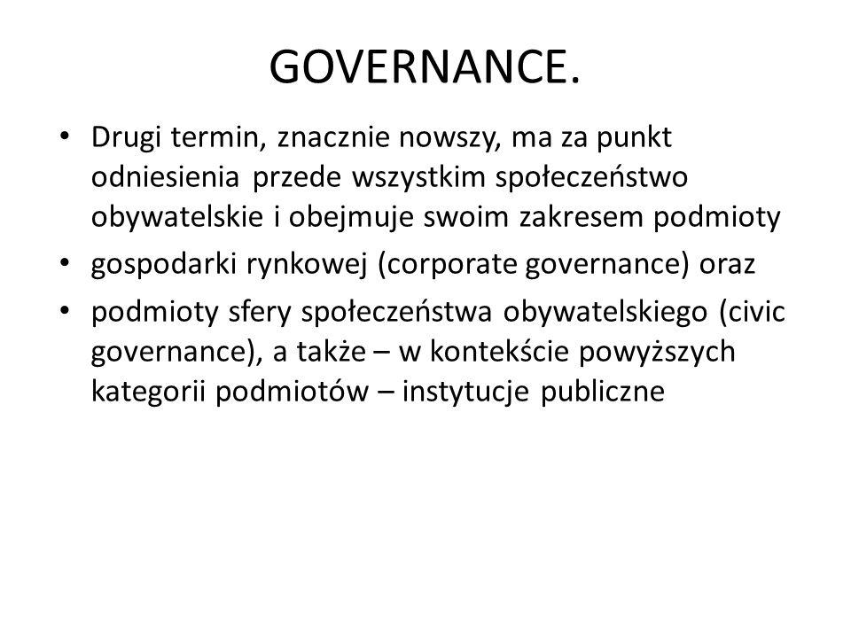 GOVERNANCE. Drugi termin, znacznie nowszy, ma za punkt odniesienia przede wszystkim społeczeństwo obywatelskie i obejmuje swoim zakresem podmioty gosp