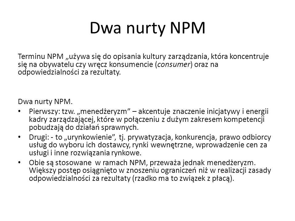 """Dwa nurty NPM Terminu NPM """"używa się do opisania kultury zarządzania, która koncentruje się na obywatelu czy wręcz konsumencie (consumer) oraz na odpo"""