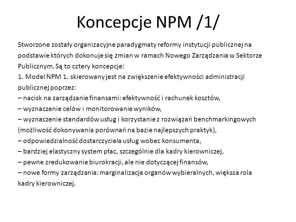 Koncepcje NPM /1/ Stworzone zostały organizacyjne paradygmaty reformy instytucji publicznej na podstawie których dokonuje się zmian w ramach Nowego Za