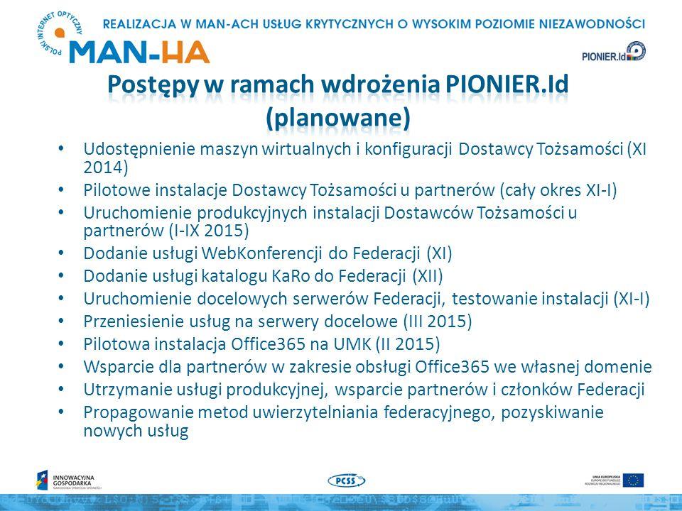 Udostępnienie maszyn wirtualnych i konfiguracji Dostawcy Tożsamości (XI 2014) Pilotowe instalacje Dostawcy Tożsamości u partnerów (cały okres XI-I) Uruchomienie produkcyjnych instalacji Dostawców Tożsamości u partnerów (I-IX 2015) Dodanie usługi WebKonferencji do Federacji (XI) Dodanie usługi katalogu KaRo do Federacji (XII) Uruchomienie docelowych serwerów Federacji, testowanie instalacji (XI-I) Przeniesienie usług na serwery docelowe (III 2015) Pilotowa instalacja Office365 na UMK (II 2015) Wsparcie dla partnerów w zakresie obsługi Office365 we własnej domenie Utrzymanie usługi produkcyjnej, wsparcie partnerów i członków Federacji Propagowanie metod uwierzytelniania federacyjnego, pozyskiwanie nowych usług