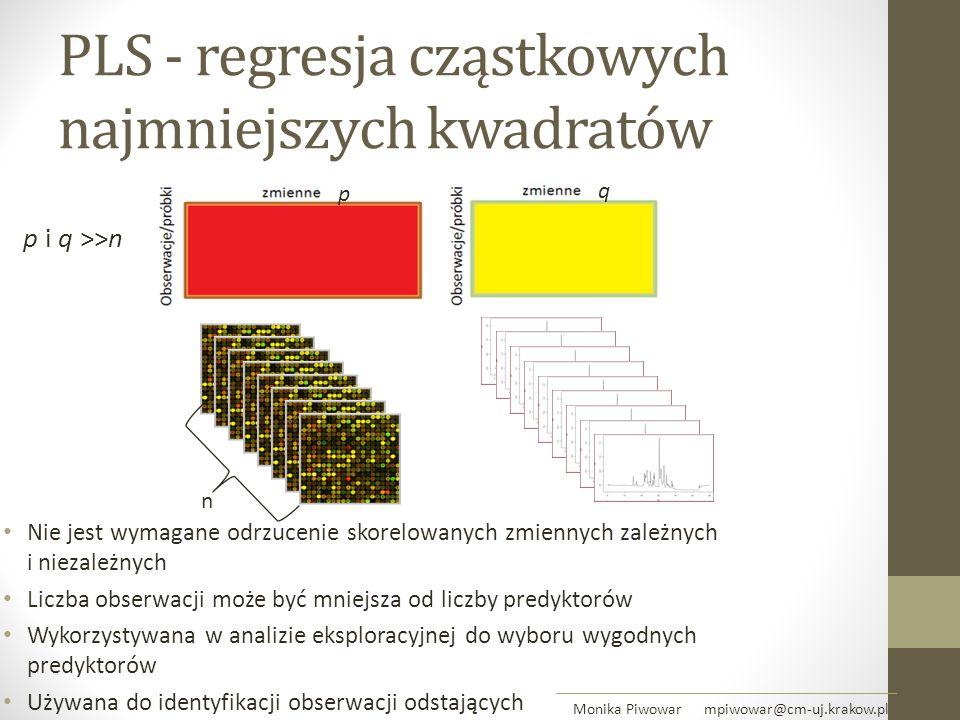 PLS - regresja cząstkowych najmniejszych kwadratów Nie jest wymagane odrzucenie skorelowanych zmiennych zależnych i niezależnych Liczba obserwacji moż