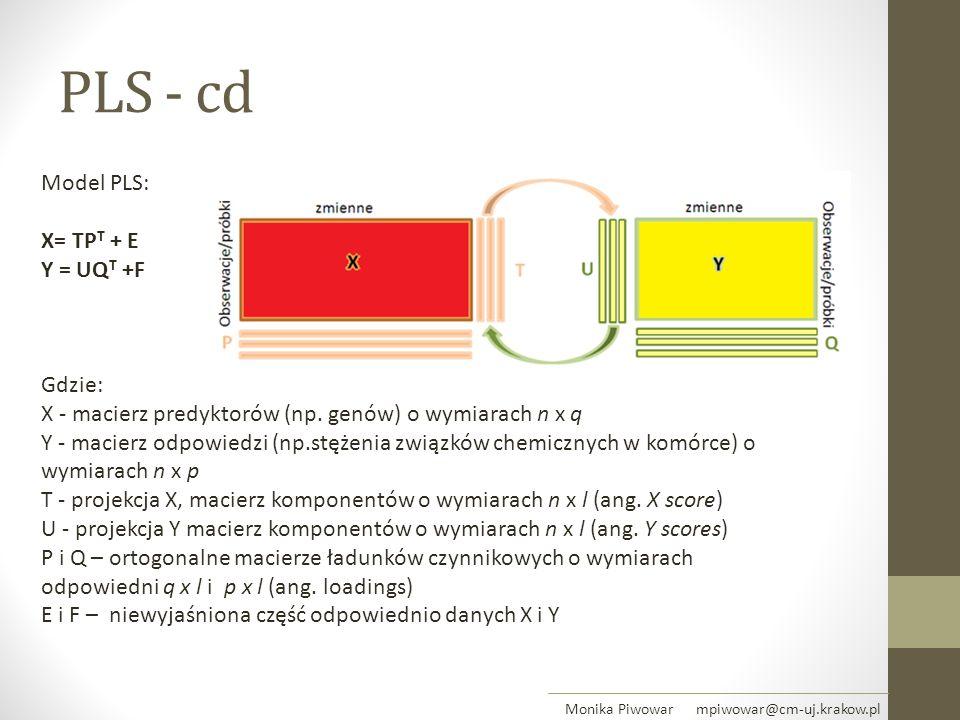 PLS - cd Model PLS: X= TP T + E Y = UQ T +F Gdzie: X - macierz predyktorów (np. genów) o wymiarach n x q Y - macierz odpowiedzi (np.stężenia związków