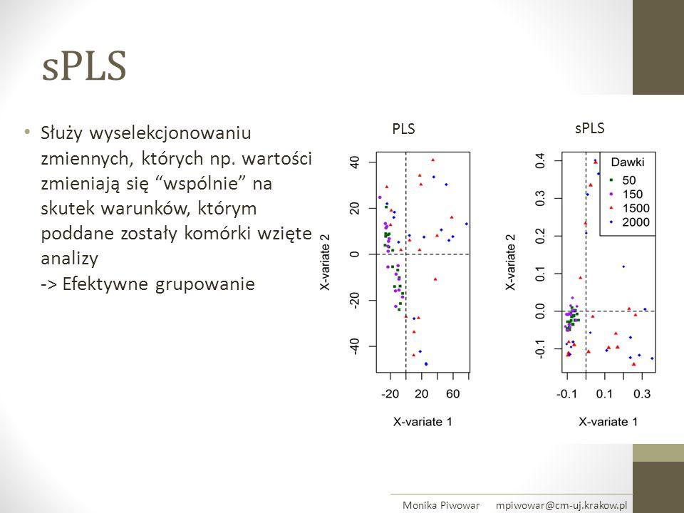 """sPLS Służy wyselekcjonowaniu zmiennych, których np. wartości zmieniają się """"wspólnie"""" na skutek warunków, którym poddane zostały komórki wzięte do ana"""