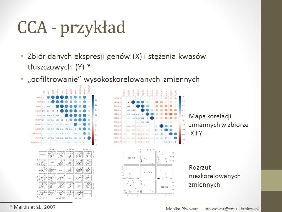 """CCA - przykład Zbiór danych ekspresji genów (X) i stężenia kwasów tłuszczowych (Y) * """"odfiltrowanie"""" wysokoskorelowanych zmiennych Rozrzut nieskorelow"""