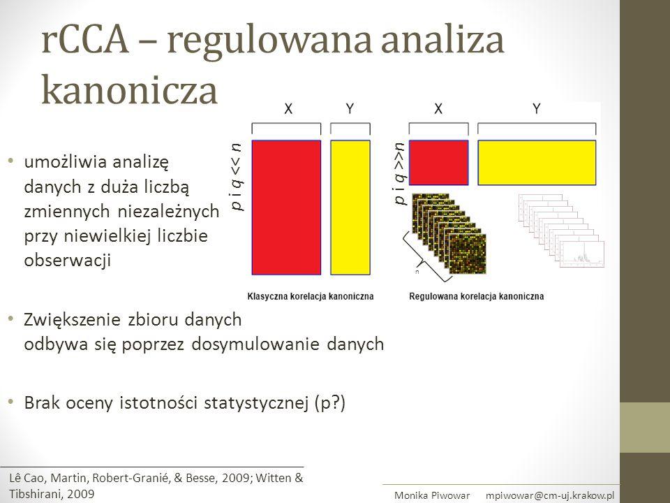 umożliwia analizę danych z duża liczbą zmiennych niezależnych przy niewielkiej liczbie obserwacji Zwiększenie zbioru danych odbywa się poprzez dosymul