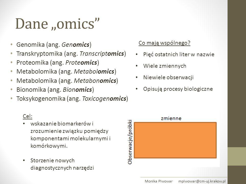 """Dane """"omics"""" Genomika (ang. Genomics) Transkryptomika (ang. Transcriptomics) Proteomika (ang. Proteomics) Metabolomika (ang. Metabolomics) Metabolomik"""