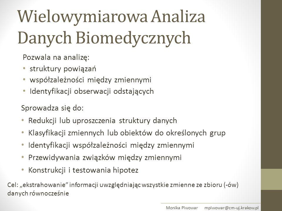 Wielowymiarowa Analiza Danych Biomedycznych Pozwala na analizę: struktury powiązań współzależności między zmiennymi Identyfikacji obserwacji odstający