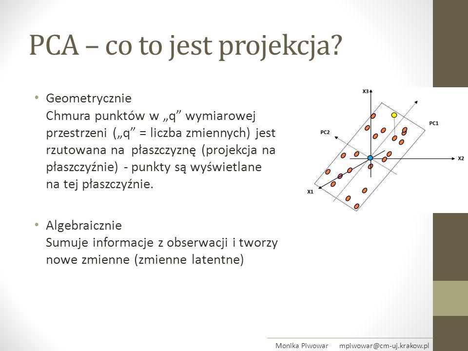 """PCA – co to jest projekcja? Geometrycznie Chmura punktów w """"q"""" wymiarowej przestrzeni (""""q"""" = liczba zmiennych) jest rzutowana na płaszczyznę (projekcj"""