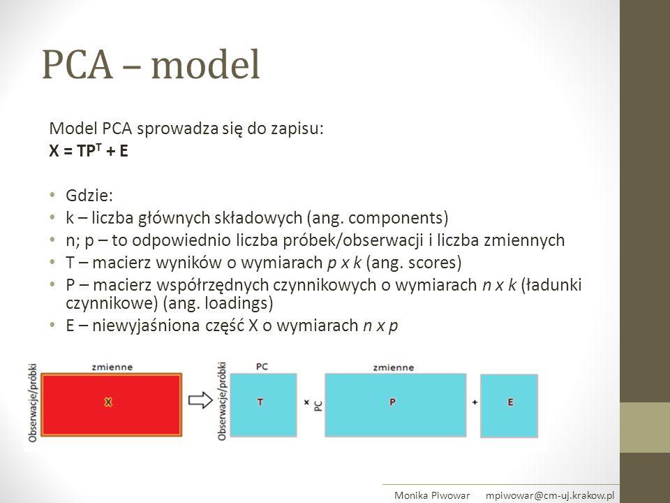 PCA – model Model PCA sprowadza się do zapisu: X = TP T + E Gdzie: k – liczba głównych składowych (ang. components) n; p – to odpowiednio liczba próbe