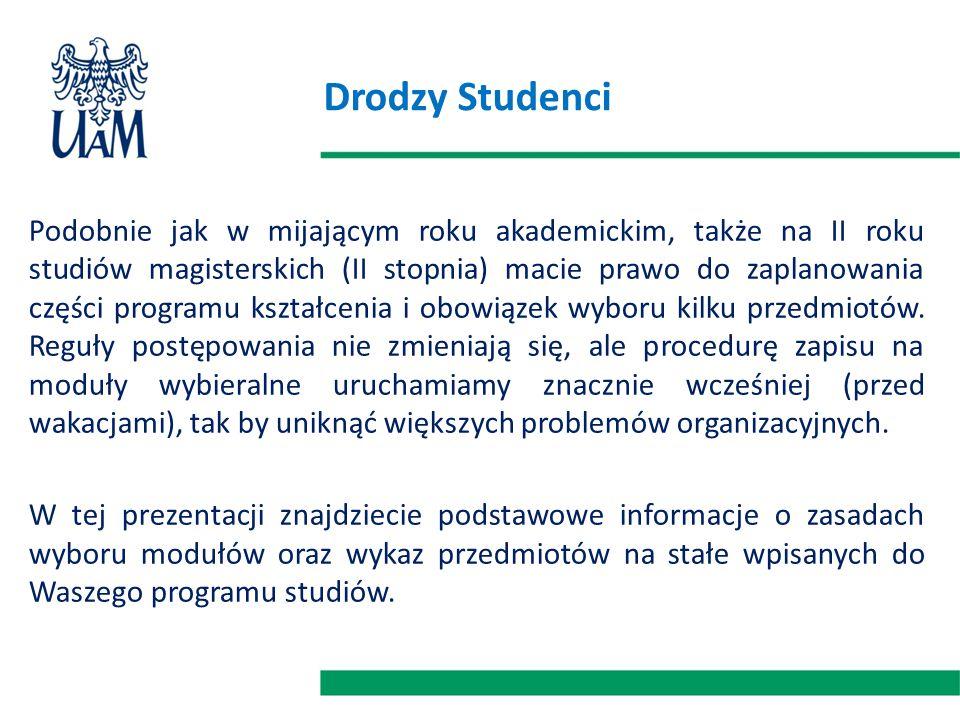 Drodzy Studenci Podobnie jak w mijającym roku akademickim, także na II roku studiów magisterskich (II stopnia) macie prawo do zaplanowania części programu kształcenia i obowiązek wyboru kilku przedmiotów.