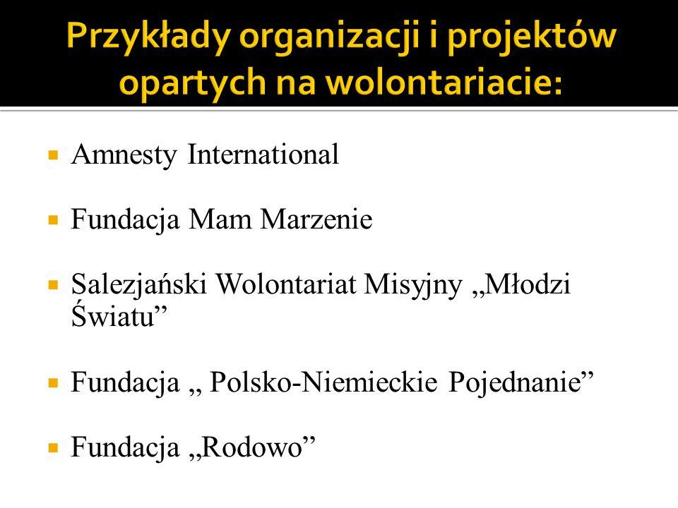 """ Amnesty International  Fundacja Mam Marzenie  Salezjański Wolontariat Misyjny """"Młodzi Światu  Fundacja """" Polsko-Niemieckie Pojednanie  Fundacja """"Rodowo"""