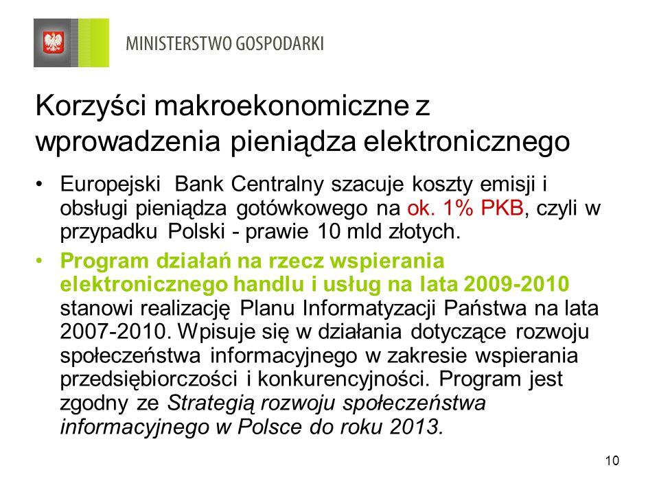 10 Korzyści makroekonomiczne z wprowadzenia pieniądza elektronicznego Europejski Bank Centralny szacuje koszty emisji i obsługi pieniądza gotówkowego