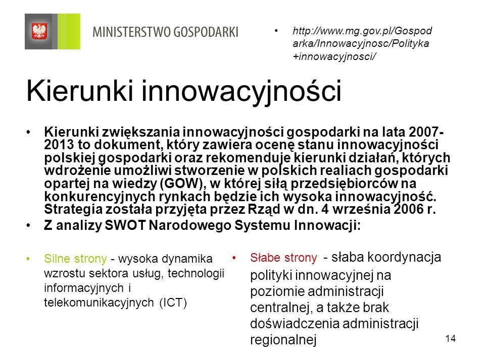 14 Kierunki innowacyjności Kierunki zwiększania innowacyjności gospodarki na lata 2007- 2013 to dokument, który zawiera ocenę stanu innowacyjności pol