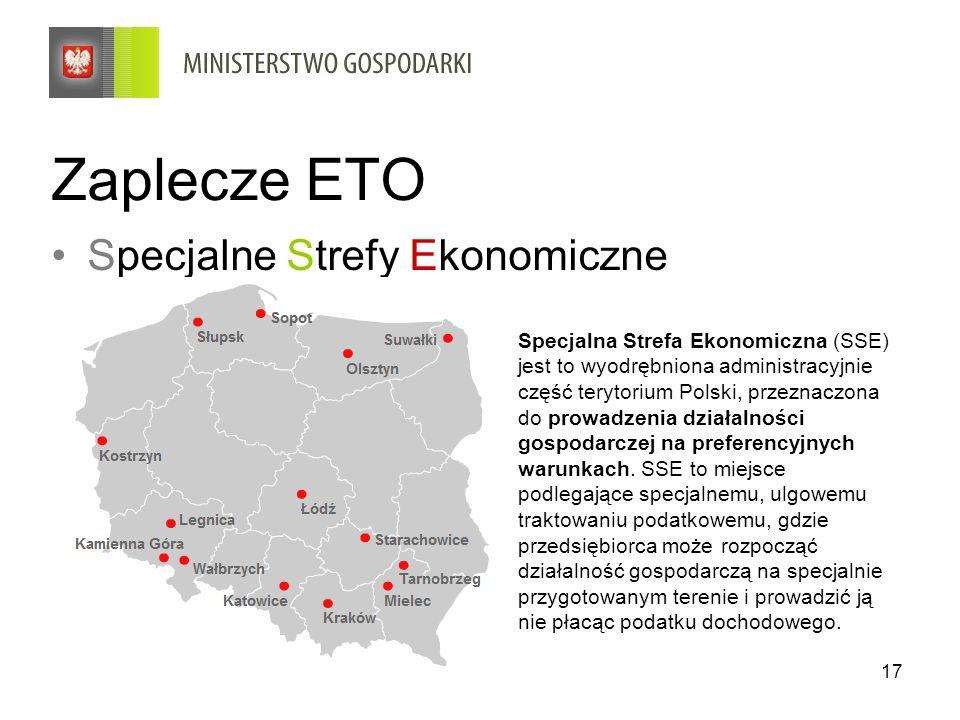 17 Zaplecze ETO Specjalne Strefy Ekonomiczne Specjalna Strefa Ekonomiczna (SSE) jest to wyodrębniona administracyjnie część terytorium Polski, przezna
