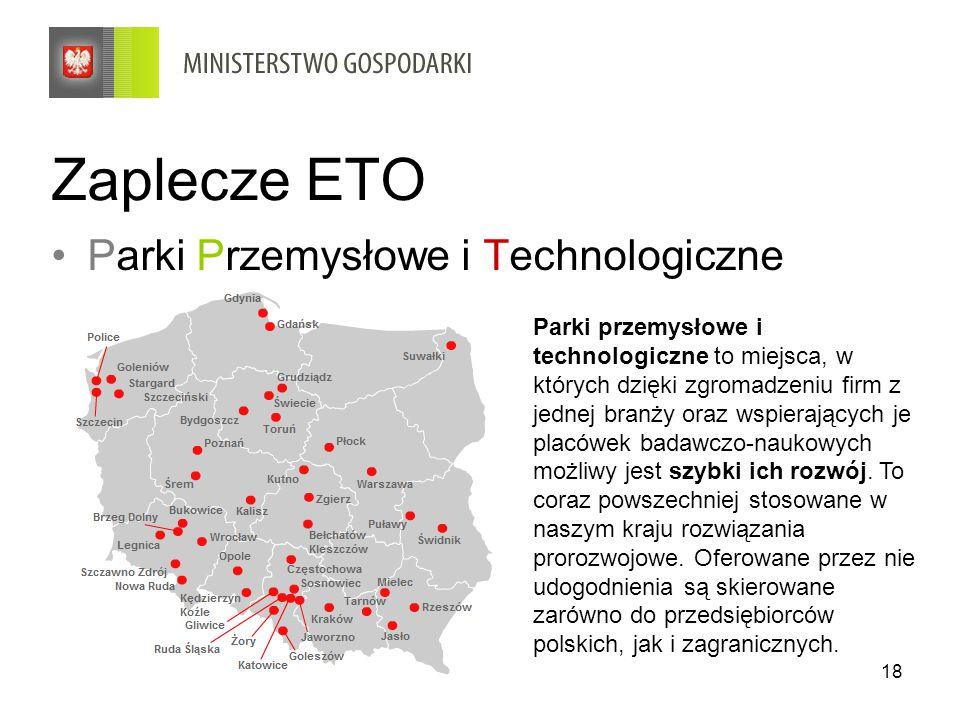 18 Zaplecze ETO Parki Przemysłowe i Technologiczne Parki przemysłowe i technologiczne to miejsca, w których dzięki zgromadzeniu firm z jednej branży o