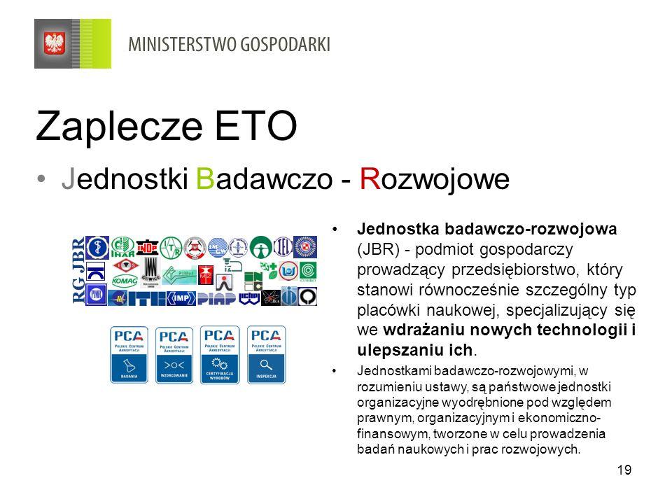 19 Zaplecze ETO Jednostki Badawczo - Rozwojowe Jednostka badawczo-rozwojowa (JBR) - podmiot gospodarczy prowadzący przedsiębiorstwo, który stanowi rów