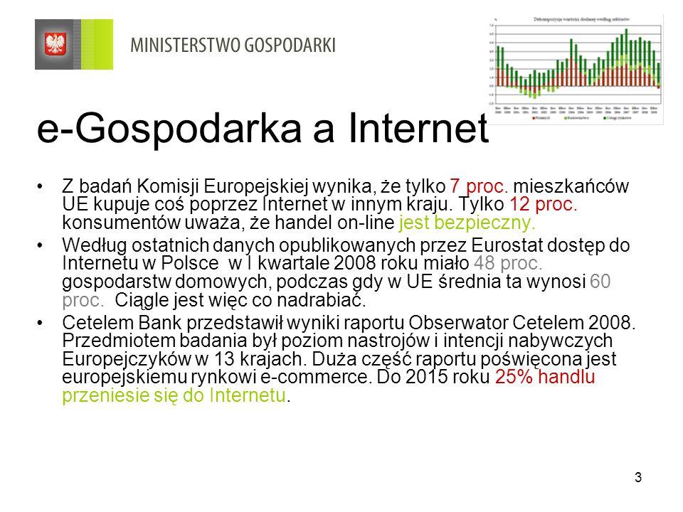 3 e-Gospodarka a Internet Z badań Komisji Europejskiej wynika, że tylko 7 proc. mieszkańców UE kupuje coś poprzez Internet w innym kraju. Tylko 12 pro