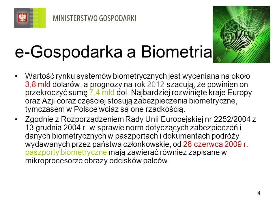 4 e-Gospodarka a Biometria Wartość rynku systemów biometrycznych jest wyceniana na około 3,8 mld dolarów, a prognozy na rok 2012 szacują, że powinien