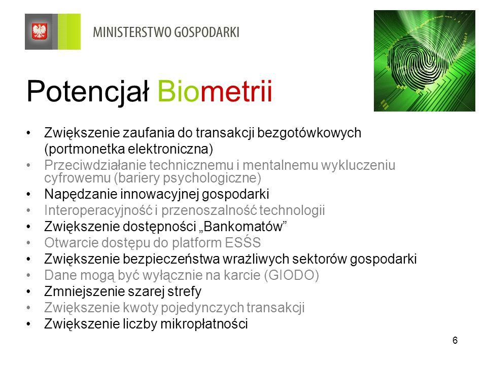 6 Potencjał Biometrii Zwiększenie zaufania do transakcji bezgotówkowych (portmonetka elektroniczna) Przeciwdziałanie technicznemu i mentalnemu wyklucz