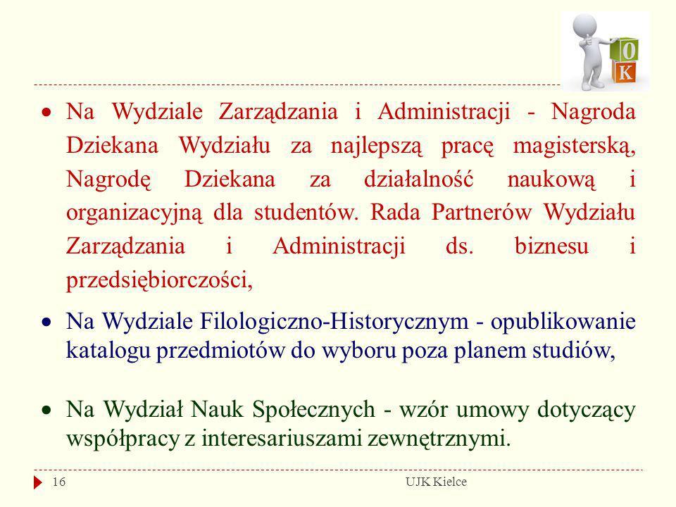 UJK Kielce16  Na Wydziale Zarządzania i Administracji - Nagroda Dziekana Wydziału za najlepszą pracę magisterską, Nagrodę Dziekana za działalność nau