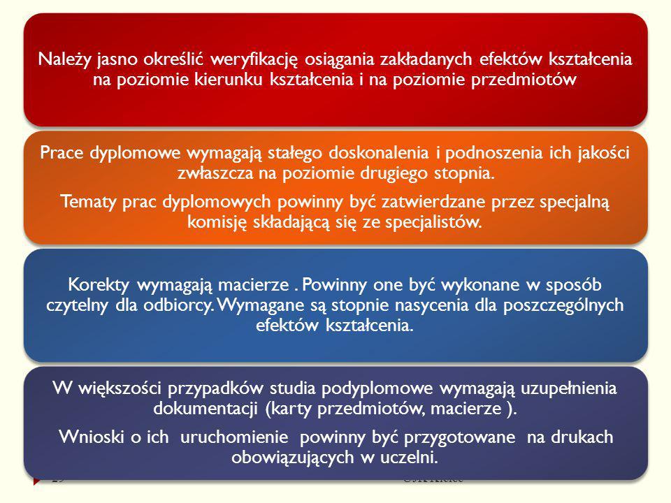 UJK Kielce29 Należy jasno określić weryfikację osiągania zakładanych efektów kształcenia na poziomie kierunku kształcenia i na poziomie przedmiotów Pr