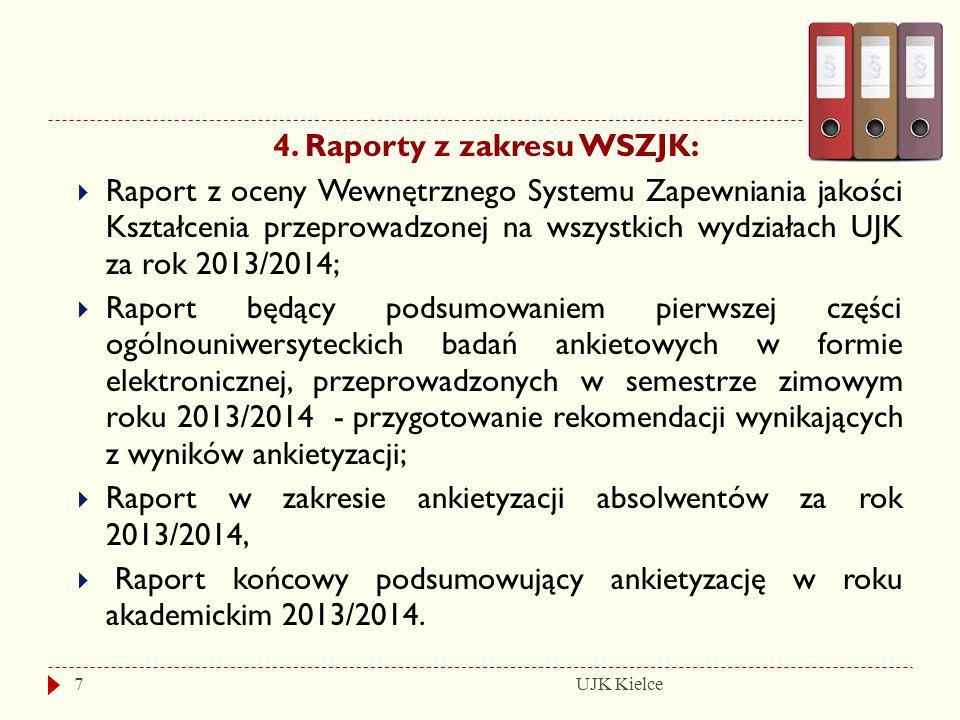 UJK Kielce7 4. Raporty z zakresu WSZJK:  Raport z oceny Wewnętrznego Systemu Zapewniania jakości Kształcenia przeprowadzonej na wszystkich wydziałach