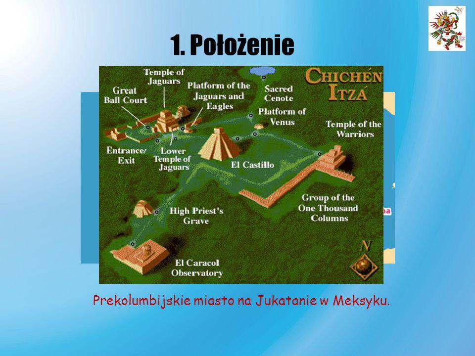 1. Położenie Prekolumbijskie miasto na Jukatanie w Meksyku.
