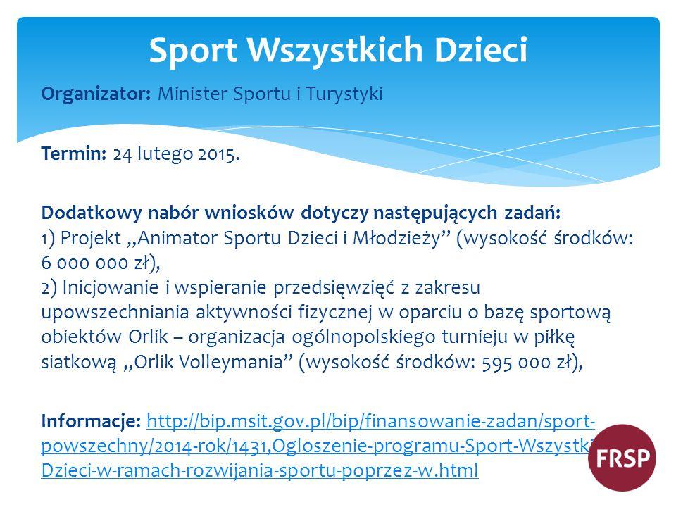 Organizator: Minister Sportu i Turystyki Termin: 24 lutego 2015.